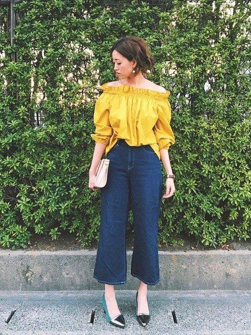 Japanese fashion trend vivid yellow color cloths