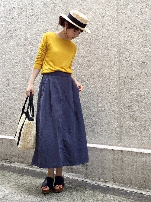 Japanese fashion trend yellow color with skirt