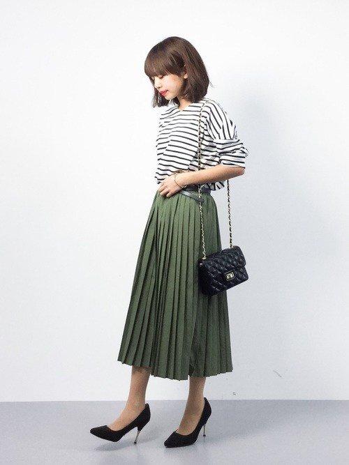 Japanese fashion trend green skirt