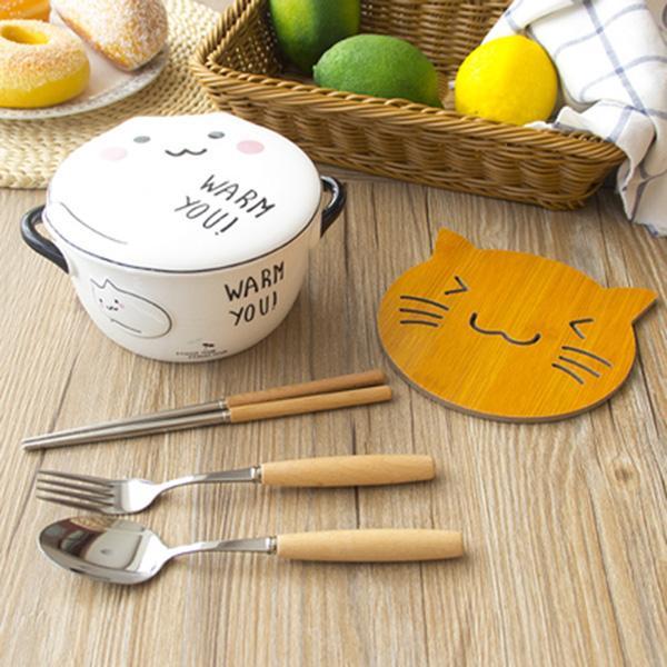 Kawaii cat stuff bow and mug set