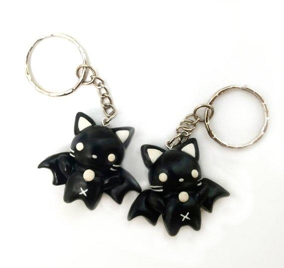 Kawaii black bat cat charm