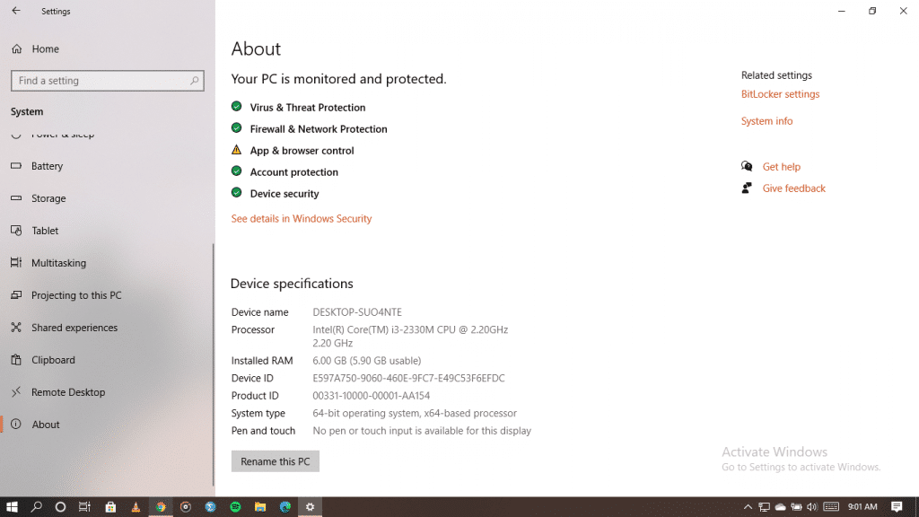 Windows 10 system information page.